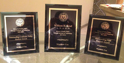 Matthew Cox's Three Award Plaques