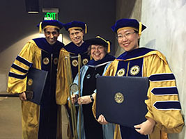 Congratulations Xiaojing Sun, our newest Georgia Tech CEPL alumni! (shown here on graduation day--May 6, 2016--with Johann Weber, Sanjay Arora, and Vice Provost Susan Cozzens)