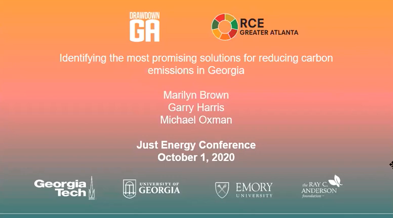 "Title slide for the presentation ""Identifying the most promising solutions for reducing carbon emissions in Georgia"""