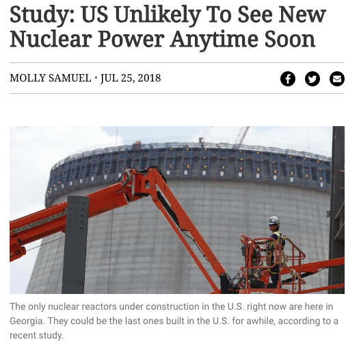 Study: US Unlikely To See New Nuclear Power Anytime Soon