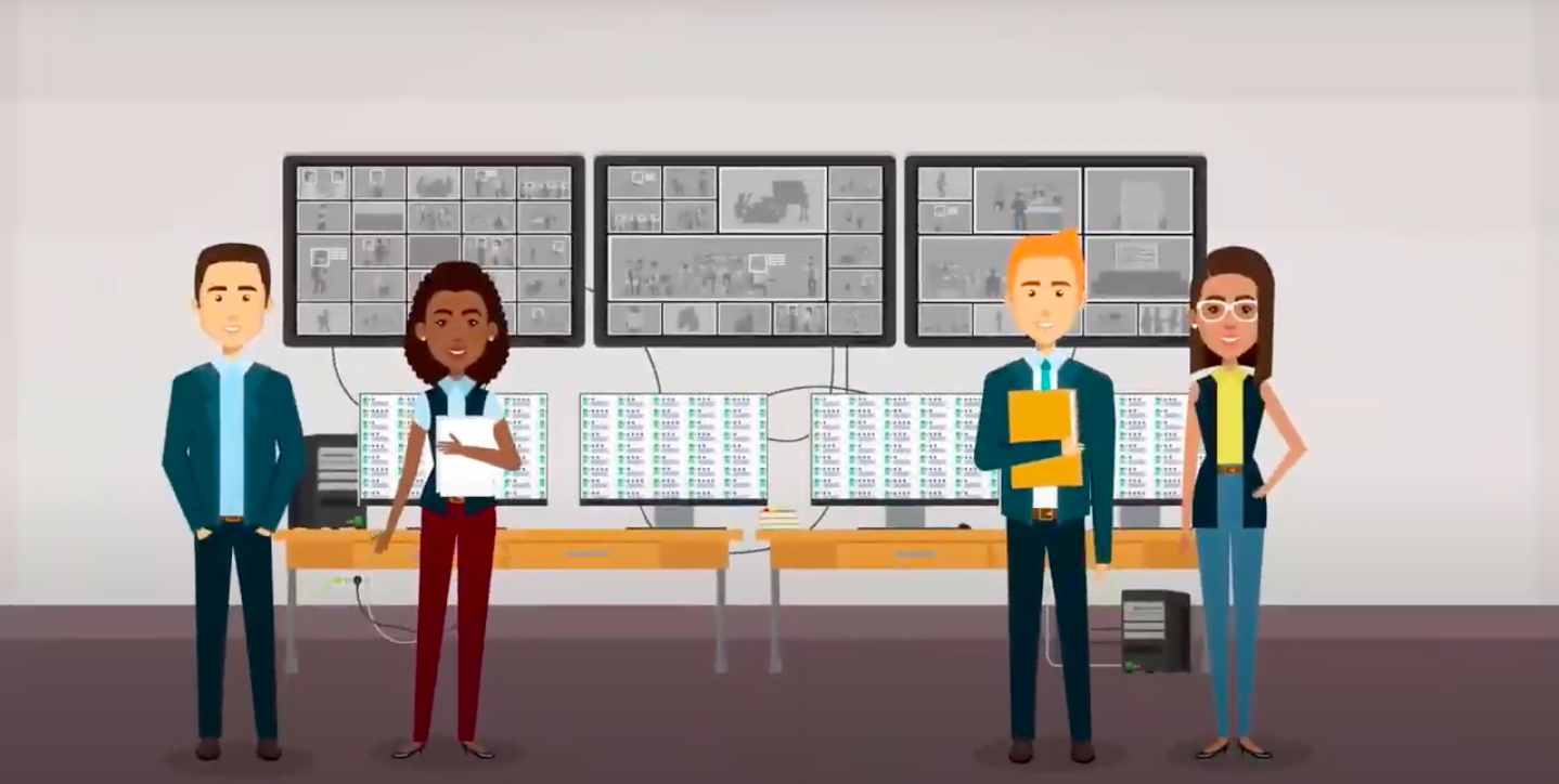 Four animated researchers stand in front of monitors, analyzing data on electric vehicles.