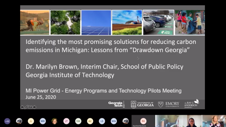 "Title slide for the presentation ""Identifying the most promising solutions for reducing carbon emissions in Michigan: Lessons from Drawdown Georgia."""