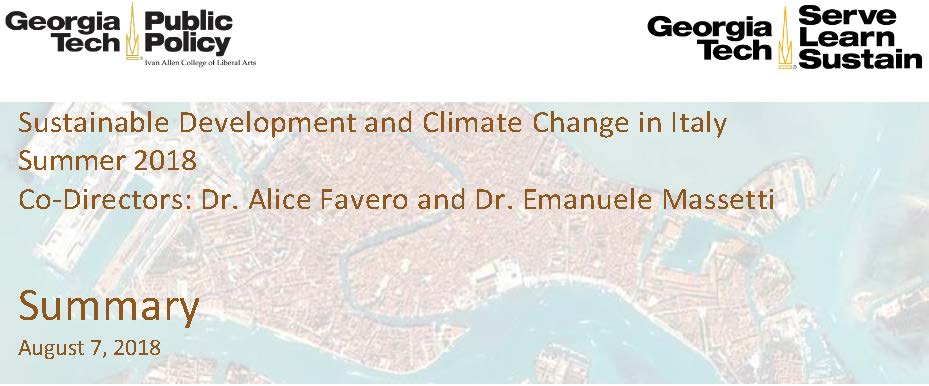 Sustainable Development and Climate Change in Italy