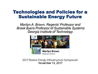 Technologies and Policies for a Sustainable Energy Future