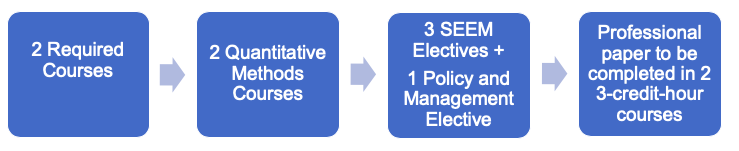 Flow chart for the MSEEM degree requirements: two required courses; two quantitative methods courses; three SEEM electives plus one policy and management elective; a professional paper to be completed in two three-credit-hour courses.